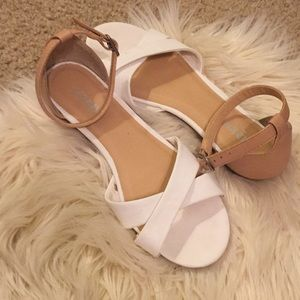 Super cute white and tan dressy sandals